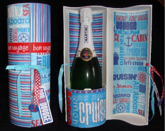 bon voyage gift - champagne bottle box