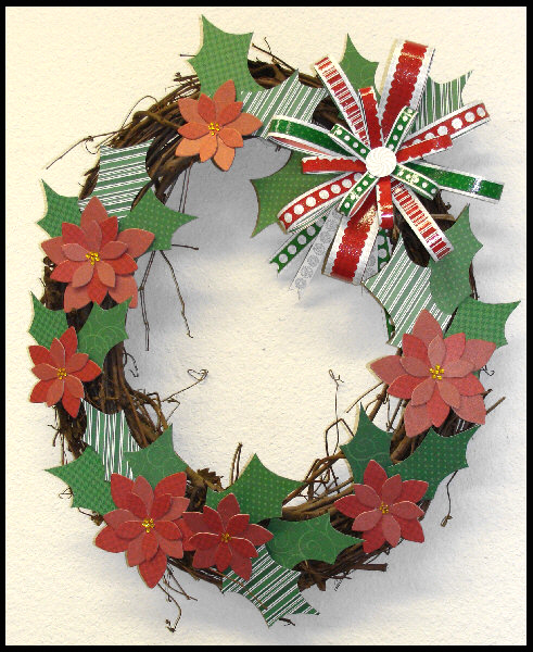 holly and poinsettia Christmas wreath