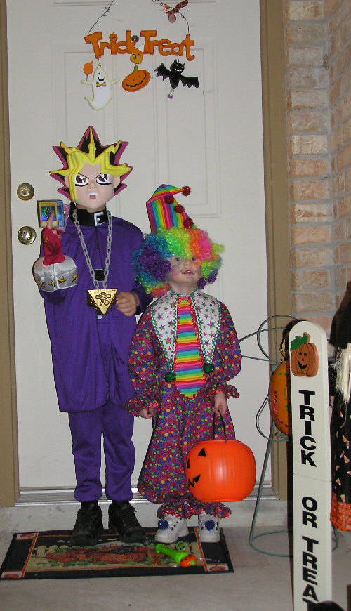 drew as yu-gi-oh (store bought) and chris as clown