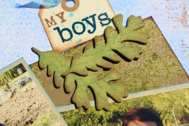 my boys -boy page,nature layout, scrapbook layout,clearsnap,colorbox,pigment ink,mixed media,mixd media inx,chalk ink,heat embossing,collaged page,tami sanders - leaves (1024x683)