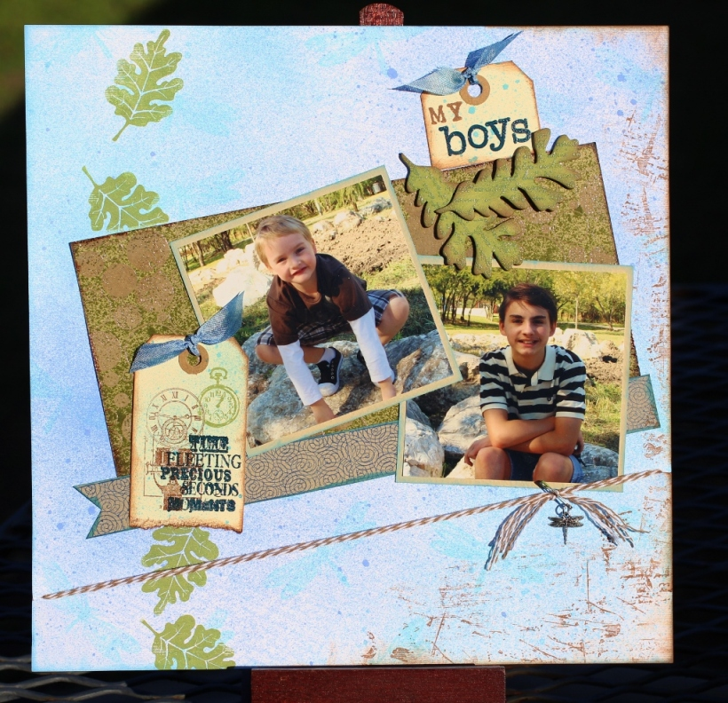 my boys -boy page,nature layout, scrapbook layout,clearsnap,colorbox,pigment ink,mixed media,mixd media inx,chalk ink,heat embossing,collaged page,tami sanders -lo (1024x990)