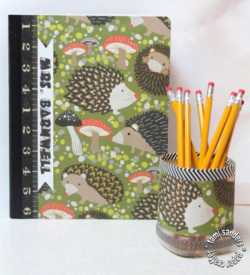 hedgehog card,paper craft,teacher card,teacher appreciation gift,tami sanders - composition book, pencil cup - shwm