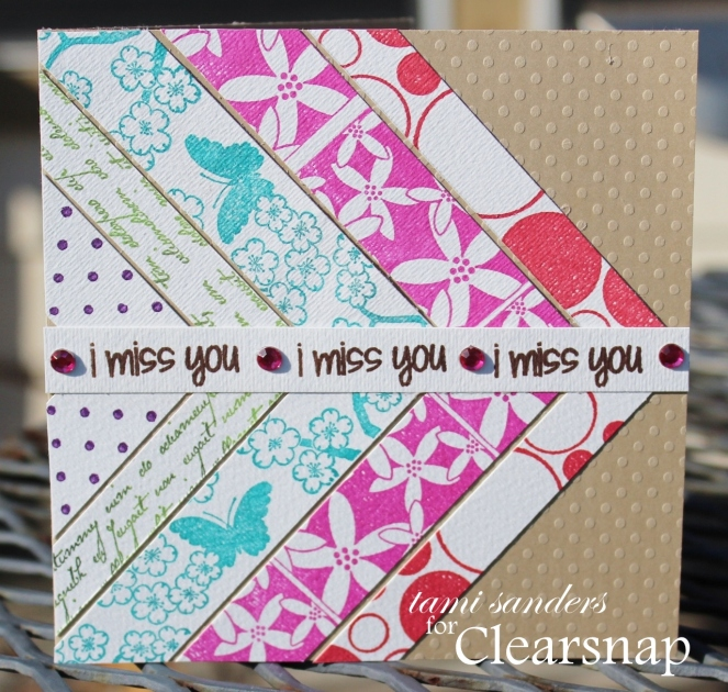 chevron miss you card - clearsnap,rollagraph,colorbox,archival dye ink,dye ink,scrap card,scraps card,washi card,stamped card,tami sanders -wm