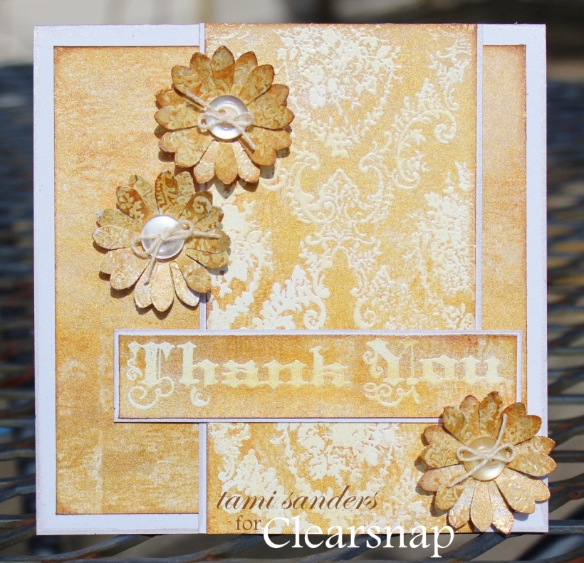 wedding thank you card - clearsnap, something tattered, izink ink,stamped backgrounds,stamped card,wedding projects,wedding cards,stamped wedding - tami sanders wm