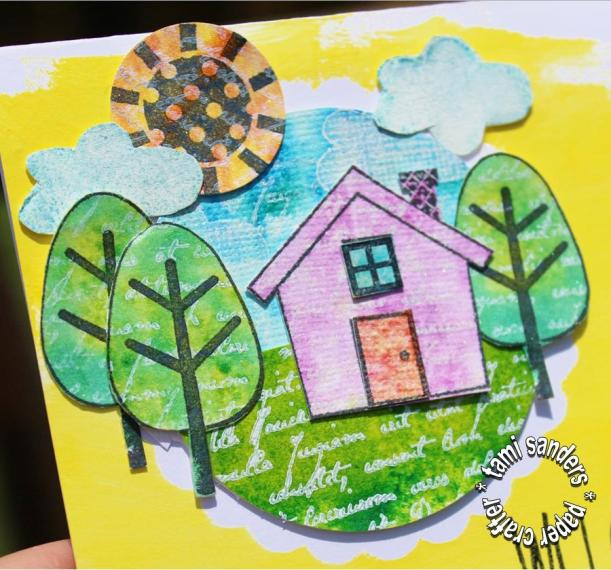 welcome card - clearsnap,cardmaker,blog hop,stamped card,stamping technique,home card,rollagraph,izink - tami sanders - cu wm