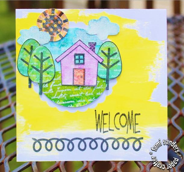 welcome card - clearsnap,cardmaker,blog hop,stamped card,stamping technique,home card,rollagraph,izink - tami sanders - wm