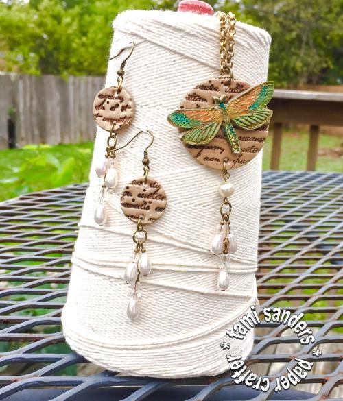 dragonfly jewelry set,polymer clay, smooch ink,tami sanders,blog